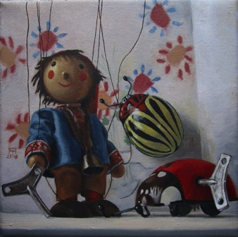"Sebbie and the Picasso Bugs 2018, 8x8"" Available at Lotton Gallery"