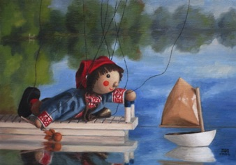 "Sebbie and the Toy Boat 2014, 8x11"" Available at Lotton Gallery"