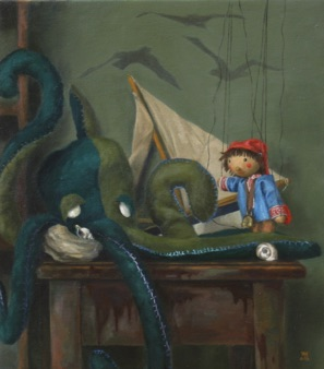 "Sebbie and the Octopus 2013, 14x16"" Available"