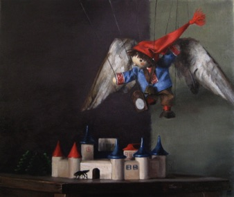"Sebbie Flying over the City 2010, 18x15"" ~sold~"